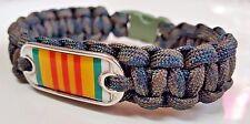 Vietnam Service Ribbon Emblem on Woodland Camouflauge Handmade Paracord Bracelet