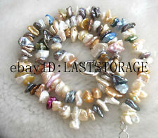 "freshwater pearl reborn keshi multicolor 8-12mm necklace 17"" nature wholesale be"
