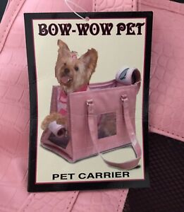"""Bow Wow Pet Carrier Large 16"""" x 11"""" x 9"""" for Pets up to 22 Pounds NEW Pink"""