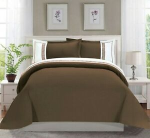 1500 Thread Count Egyptian Quality 3-Piece Greek Embroidered Duvet Cover Set