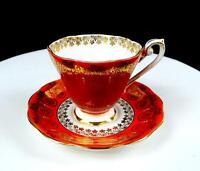 """ROYAL STANDARD ENGLAND BURNT ORANGE GOLD FLORAL 3"""" CUP AND SAUCER 1949-"""