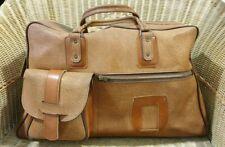 Sac de voyage vintage, grand modèle, simili-cuir beige marron #1547