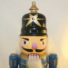 Vintage Christmas Nutcracker Blue Soldier Dome Spiked Helmet 13 Inches
