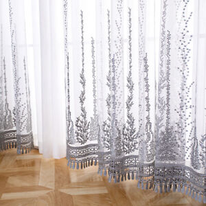 Lace Fabric Sheer Embroidery Crochet Net Tulle DIY Curtain Drape Material Sewing