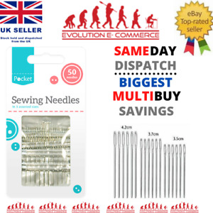 Sewing Needles 50 Pack - Assorted Sizes Hand Easy Thread Big Eye Sets Large Pack
