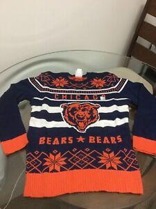 NWOT Chicago Bears Blue Orange Junk Food Ugly Christmas Sweater Medium