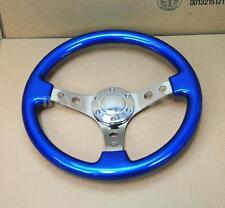 "350mm 14"" Blue Wood, Mirror Chrome Staineless Steel Spoke Steering Wheel + Horn"