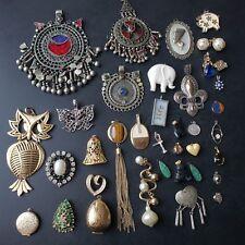 37pc Vintage Necklace Pendant Charm Lot Rhinestone India Owl Pearl MM7
