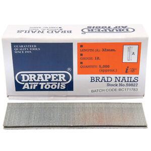 Draper 32mm x 5000 18G Brad Nails for Stapler Nailer 21034 & 83659 - 59827