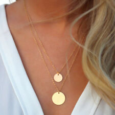 Charms 2 Double Layer Necklace Gold 2 Coins Chain Pendant Minimalist Short Thin