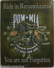 Tin Metal Sign POW MIA US Army indian Harley Davidson motorcycle hd motor bike