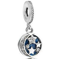 authentic 925 sterling silver Vintage Night Sky Blue Dangle Charm fit Bracelet