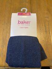 Girls Navy Ted Baker Tights With Sparkle Age 11-12 BNWT