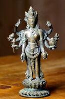 antike Bronzefigur Asiatika Nepal Tibet 8 armiger Buddha 1240 g Rarität