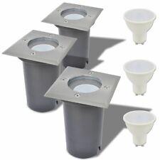 Vidaxl Lampe LED encastrable au sol D'extérieur 3 Pièces Carré Luminaires