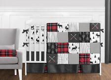 Sweet Jojo Grey Black Red Woodland Plaid Rustic Patch Baby Boy Crib Bedding Set