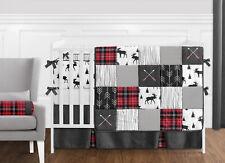 Sweet Jojo Grey Black Red Woodland Plaid Rustic Patch Baby Boy Crib Bedding Set