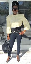 Designer Saks Genuine beige white Ermine Fur coat jacket stroller boleroXS-S 0-4