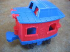 MATTEL 1999 RED BLUE TRAIN CABOOSE CAR Plastic #3 Top opens