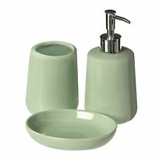 Premier Moon 3pc Bathroom Set Soap Dish Lotion Dispenser Tumbler Pale Green