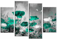 """GREEN GREY CANVAS ART CHINESE FLORAL FLOWER SPLIT MULTI 4 PANEL PICTURE 40""""x 27"""""""