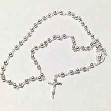 """Silvertone 18 1/2"""" Rosary/Necklace with Pendant of Mary and Cross"""