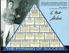 JOHN WOODEN HAND SIGNED 8x11 PYRAMID OF SUCCESS   UCLA COACH     FOR MATT    JSA