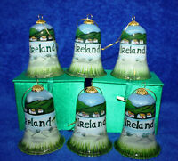 6 Glass Hand Painted Ornaments with Padded Boxes ~ Ireland Country Scene