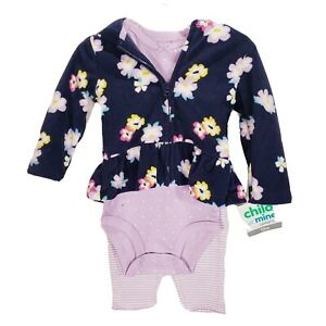 Carters Girls 3 Piece Floral Cardigan Set 12 Months Purple Child of Mine C3
