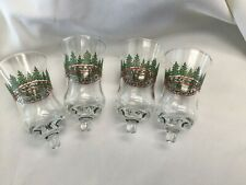Set of 4 Holly Evergreen Tree Votive Cup Candle Holders Homco Home Interior