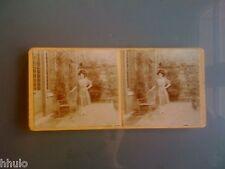 STC325 stéréo Photo ancienne Femme chaise mode chapeau 1908 Fashion