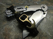BLACK PARACORD KNIFE PULL LANYARD KEYCHAIN BRONZE ANCHOR & BEAD AMERICAN MADE