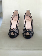 Gorgeous Christian Louboutin black satin and lace heels!!! Size 37!