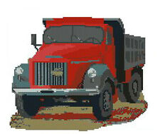 """Old Truck Red Complete Counted Cross Stitch Kit 9"""" x 7"""""""