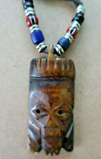 Tribal Carved Pendant Leather Necklace Vtg Africa Stained Bison Bone BeadsChief