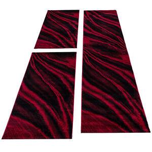Kurzflor Teppich Läuferset 3-teilig Bettumrandung Teppichläufer Rot meliert