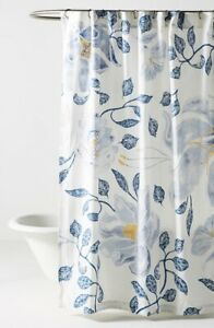 NEW Anthropologie Catamarca Floral Shower Curtain in White/Blue