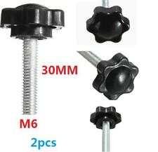 2 pcs M6 M6x30mm Black Metal Star Shaped Male Thread Clamping Head Knob Screw