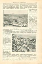 Marché à Harar Abyssinie Ethiopie Négus Ménélik Addis-Abeba Ouache GRAVURE 1898