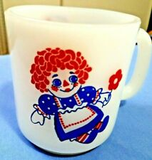 Vintage!!! Raggedy Ann & Andy Doll Milk Glass White Coffee Mug Cup Handled Old
