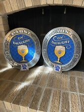 Vintage Pabst Blue Ribbon Beer On Draught Bar  Advertising Sign Lot Of 2!!!