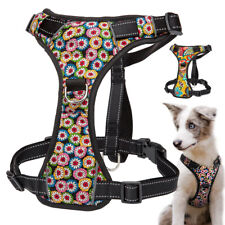 Reflective Dog Harness Soft Liner Floral Pet Vest Front Clip Harness with Handle