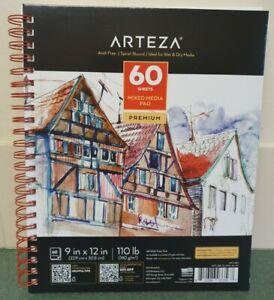 """Arteza Premium Mixed Media Pad 9"""" X 12"""" 180gm Paper. 60 Sheets. NEW"""