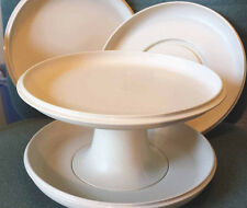Vintage Almond Tupperware Serve it All Server Pedestal Cake Plate 5 Pieces