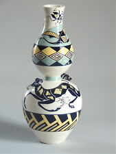Mariko Swisher contemporary ceramic artist sculptural art vase: Deer and Birds