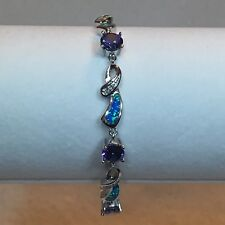 "7"" Synthetic Tanzanite & Opal Inlay .925 Sterling Silver Link Bracelet"