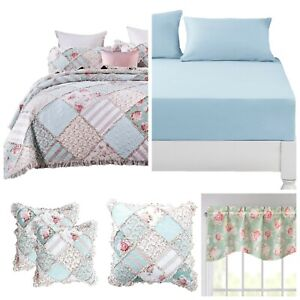 DaDa Bedding Bed in a Bag Hint of Mint Cottage Floral Fitted Sheet Bedspread Set