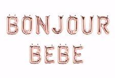 """BONJOUR BEBE Letter Balloons - 16"""" Rose Gold - Paris Theme Baby Shower - US SHIP"""