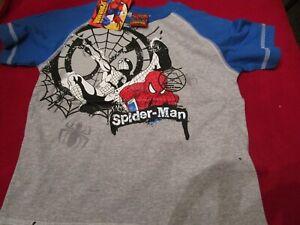 Marvel Boys Web Spider Man Grey Blue Sleeve T-Shirt Boys Size 10 100% Cotton