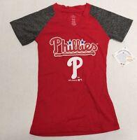 Philadelphia Phillies Official MLB Genuine Kids Youth Girls Size Sheer Shirt New